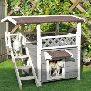 Petsfit_outdoor_cat_house_with_escape_door_and_stairs_overview